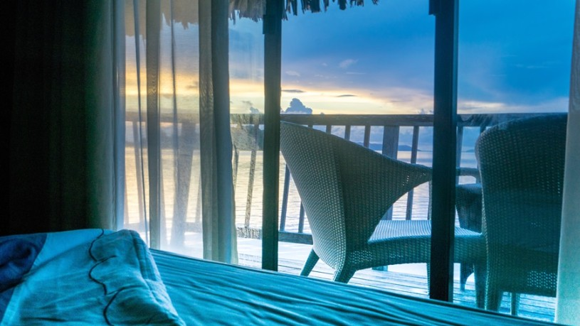 Sunrise Over Water Bungalow Bora Bora South Pacific