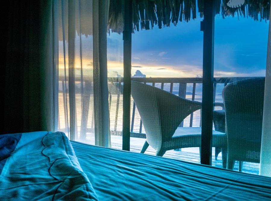Sunrise Over Water Bungalow Bora Bora South Pacific