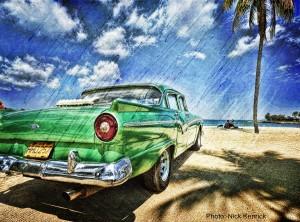 Cuba beach old car palms v2